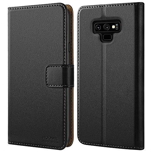 HOOMIL Handyhülle für Samsung Galaxy Note 9 Hülle, Premium Leder Tasche Flip Schutzhülle für Samsung Galaxy Note 9 Smartphone, Schwarz