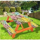 LEWIS FRANKLIN cortina de ducha abstracta mesa de picnic y banco, mantel ajustable de color arco iris, 70 x 72 pulgadas, juego de 3 piezas para mesa plegable