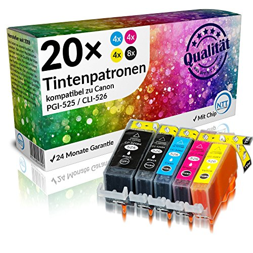 N.T.T.® 20 STÜCK (4 x Sets) XL Druckerpatronen/Tintenpatronen Tinte kompatibel zu PGI-525BK, CLI-526C, CLI-526M, CLI-526Y und CLI-526BK