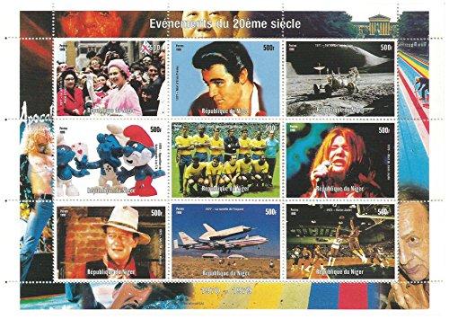 Momente der Briefmarken für Sammler des 20. Jahrhunderts mit Elvis Presley, John Wayne, Die Schlümpfe, Queen Elizabeth und andere - postfrisch, einem hervorragenden Zustand - 9 Stempel / Niger / 500f / Stand 1998
