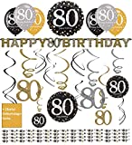 Libetui 80. Geburtstag Dekoration Deko-Set 'Sparkling' Gold Silber Happy Birthday Partykette...