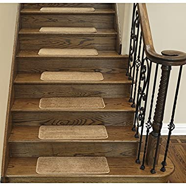 Ottomanson Softy Solid Camel Hair Set of 14 Skid Resistant Rubber Backing Non Slip Carpet (9 x26 ) Stair Tread Mats Piece Set 9 inch by 26 inch, 14 Pack, Beige