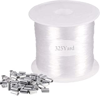 Clear Invisible Hanging, Aulufft Strong Clear Nylon Wire for Hanging Christmas and 50 Loop Sleeve Oval Shape, 0.8mm, 300m/...