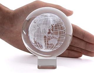 كرة أرضية من الكريستال ثلاثي الأبعاد - لونجوين 2.4 بوصة محفورة بالليزر عرض الكرة الكرة التأمل ديكور المنزل مع حامل كريستال