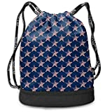 1Zlr2a0IG Drawstring Backpack Patriotic American Flag USA Stars Navy Blue Sports Gym Travel Bag