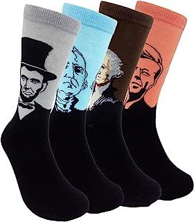 HSELL Mens Fun Patterned Dress Socks - Funny Novelty Crazy Design Cotton Socks