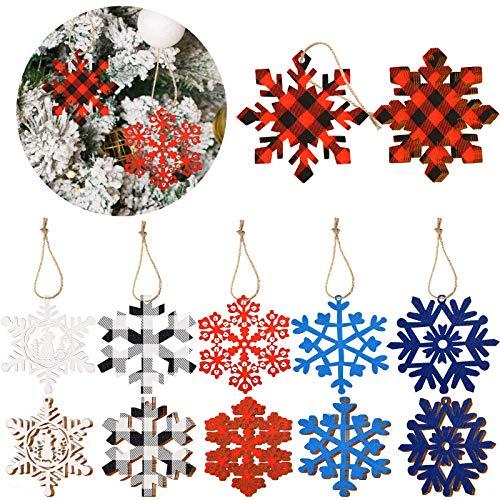 Hicarer 24 Pieces Christmas Snowflake Ornaments Wooden Snowflake Embellishments Hanging Xmas Decorations Christmas Tree Hanging Snowflake Decoration for Christmas Party, 6 Styles