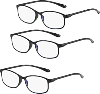 Reading Glasses Blue Light Blocking glasses HD women/men-3Pack, glasses Reading Anti Glare Filter Square. (Color : Black, ...