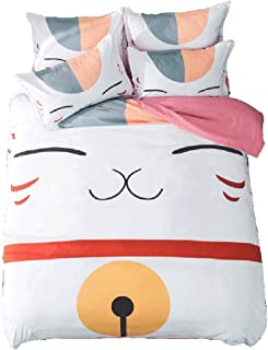 HIMFL 3 Piece Bedding Set 3D Printed Fortune Cat Madara Japan Mascot for Wealth and Luck Duvet Cover Set (1 Duvet Cover + 2 Pillow Shams)
