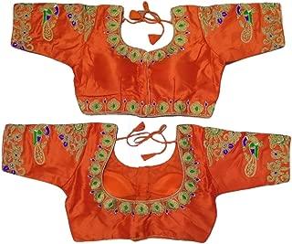 Best orange colour saree matching blouse Reviews