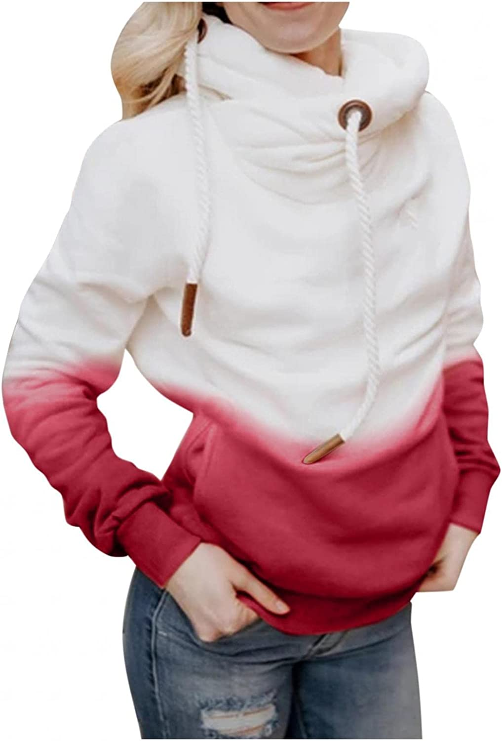 Pullover Hoodies for Women Pullover Sweatshirts Drawstring Hooded Casual Cowl Neck Long Sleeve Colorblock Tops with Pockets