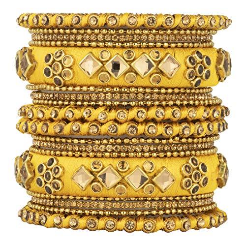 Aheli Ethnische handgemachte Seide Faden Armreif Set Chudha Set Kunststein besetzt Indische Hochzeit tragen Armband Traditionelle Mode Schmuck für Frauen