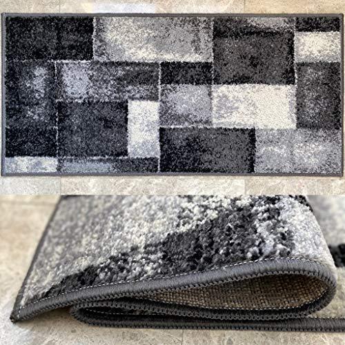 Aido - Alfombra Infinity Gris de 105 x 150 cm. Alfombra Pie de Cama de 11 mm de Pelo. Fácil de Limpiar. Moderna y Elegante para tu Habitación. Fabricado 100% en España.