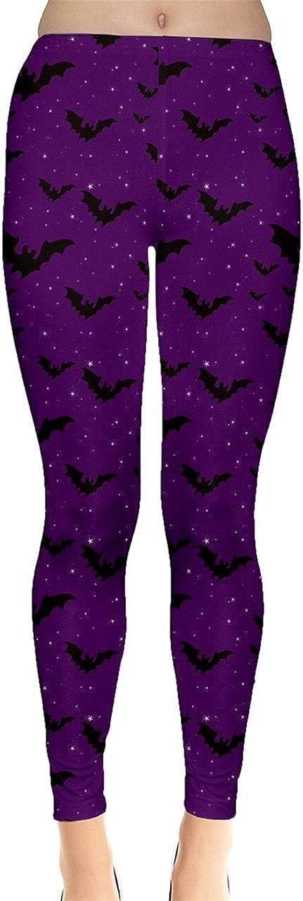 CowCow Womens Skulls Stylish Leggings Halloween Fashion Bats and Stars Pattern Tight Leggings, XS-5XL