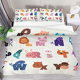 jonycm 3-Piece Bedspread Set Cute Cartoon Zoo Alphabet Funny Animals 3Pcs Colcha Moderna con 2 Fundas De Almohada 1 Funda Nórdica Juego De Funda Nórdica Personalizar Edredón Juego De Cama 177X218Cm