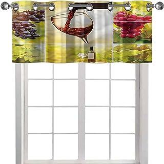 "Nursery Window Valance Curtain 36"" W x 18"" L Grommet Top Drapes/Valance for Living Room Wine Vineyard Grape Harvest"