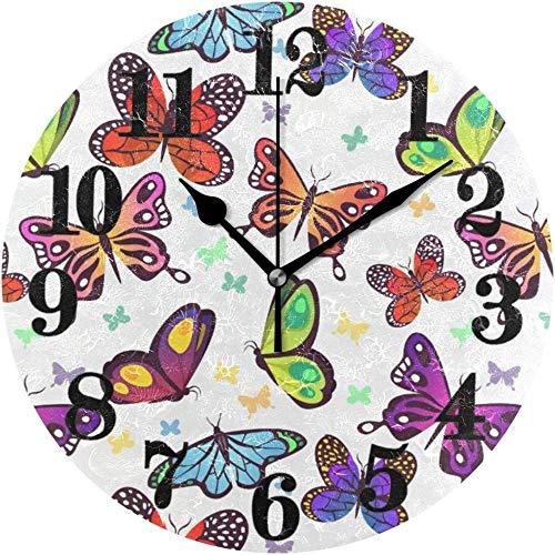 BINGTANGXUELI Co.,ltd Reloj De Pared Clásico Lindo Arte Colorido Mariposa Reloj De Pared Redondo Sin Tictac Relojes De Cuarzo con Pilas Decoración para El Hogar Sala De Estar Dormitorio Oficina