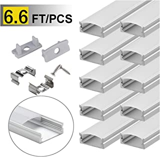 StarlandLed 10-Pack 6.6ft/ 2 Meter U Shape LED Aluminum Channel System with Milky Cover, End Caps and Mounting Clips, Aluminum Profile for LED Strip Light Installations, Very Easy Installation