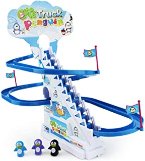 Boley Musical Penguin Roller Coaster - 11 Piece Set with Tiny Penguin Toys and Customizable Race Track