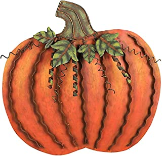 Metal Pumpkin Decoration for Home Free Standing Metal Flat Pumpkins for Fall Harvest DecorThanksgiving Halloween Outdoor Decoration - (18''H)