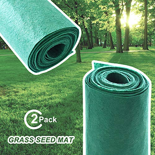 Homkit 2Pack Biodegradable Grass Seed Mat- 7.87in x 10Ft Just Roll Water & Grow Lawn Planting Mat Blanket for Garden(Not Fake or Artificial Grass)