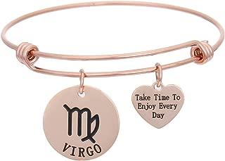 DDRICH Rose Gold Zodiac Sign Stainless Steel Bracelet Bangle Constellation Bracelet Astrology Bracelet Gift Ideas