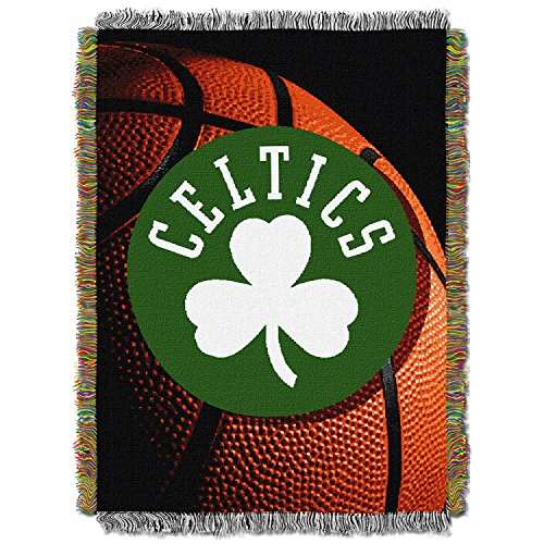 "Officially Licensed NBA Boston Celtics Photo Real Woven Tapestry Throw Blanket, 48"" x 60"", Multi Color"