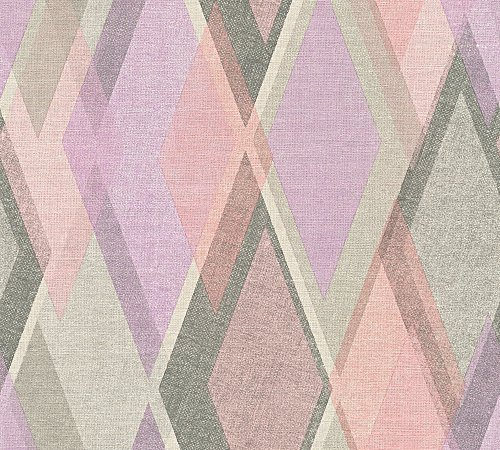 A.S. Création Vliestapete Pop Colors Tapete im Retro Design Retrotapete 70er Jahre Style 10,05 m x 0,53 m beige grau rosa Made in Germany 355911 35591-1