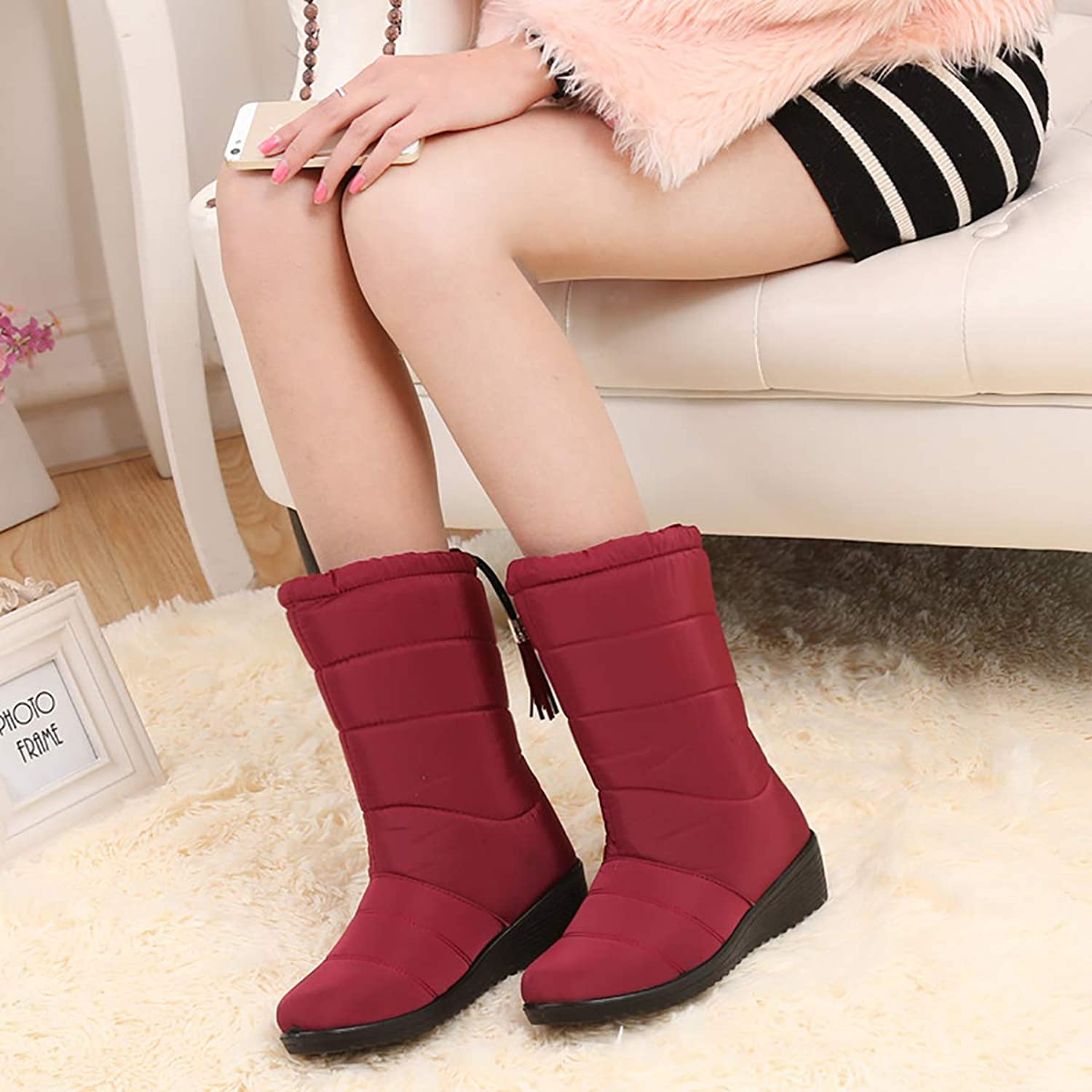 Winter Non-Slip Warm Snow Boots, Waterproof Non-Slip Middle-Aged Cotton shoes, Booties Plus Size Boots,Red,40