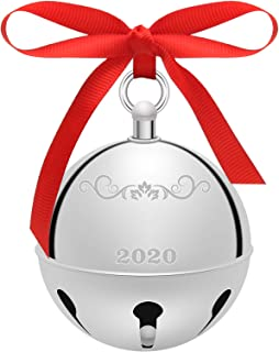 2020 Christmas Sleigh Bell Decoration, Luxiv Silve Christmas Holly Bell Ornament 2020 Souvenir Christmas Bell with Red Rib...