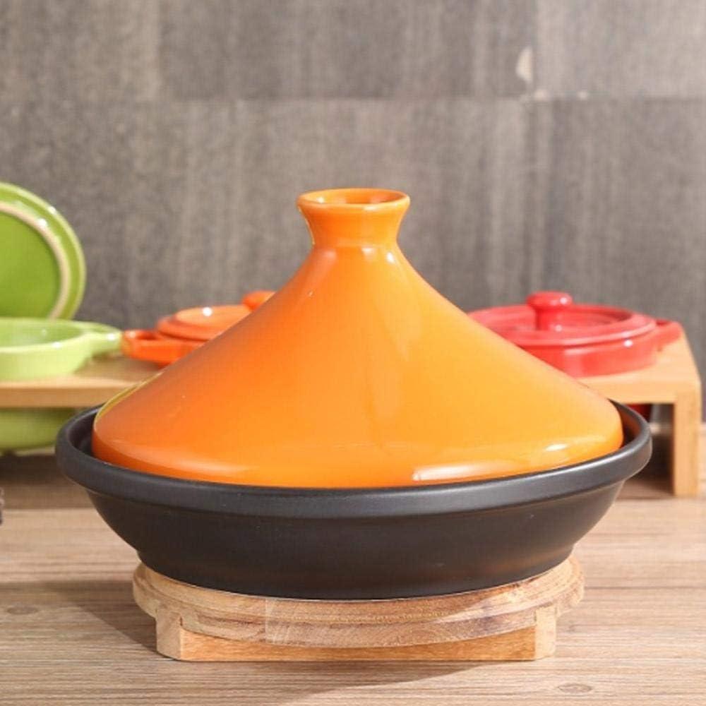 L.TSN Casserole en Argile Pot à ragoût Casserole en céramique - Adopte Le spodumène Chauffage Uniforme Accumulation de Chaleur Forte et Facile à Nettoyer - Jaune Orange