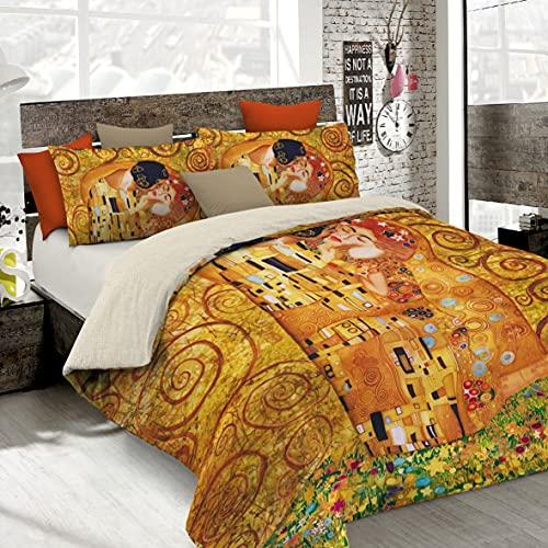Italian Bed Linen Parure Copripiumino con Stampa Digitale a Copertura Totale Sul Sacco e Sulle Federe 2 Posti 100% Cotone, Multicolore (SD02), 250x200x1 cm