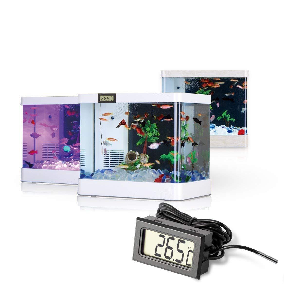 LCD digital Termómetro con sonda para Acuario Terrario, nevera y ...