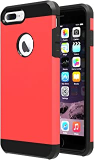 iBarbe Slim case for iPhone 7 Plus,8 Plus, Extreme Heavy Duty case Rugged Hybrid Impact Shockproof Soft Hard PC Anti-Slip Cover Armor Shock Absorption Protection for iPhone7 Plus(red/Black)