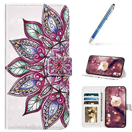 URFEDA Kompatibel mit Samsung Galaxy A70 Handyhülle Handytasche 3D Bunt Bling Glitzer Glänzend Muster Leder Hülle Klapphülle Brieftasche Schutzhülle Bookstyle Tasche Case Flip Cover,Mandala