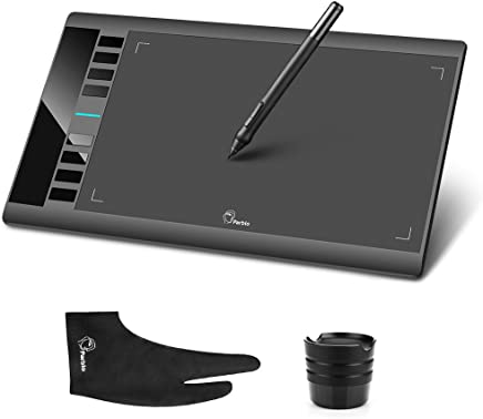 "Parblo A610 10"" x 6"" 2048 Levels Pen Pressure Graphics Drawing Tablet USB Pen Tablet with Anti-fouling Glove and LightwishClean Kit"