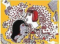 草間彌生日本クラシックスタイルアートペインティング抽象アートキャンバスポスターとプリントフェミニズムウォールアート画像ミニマリストの家の装飾40x60cmフレームなし