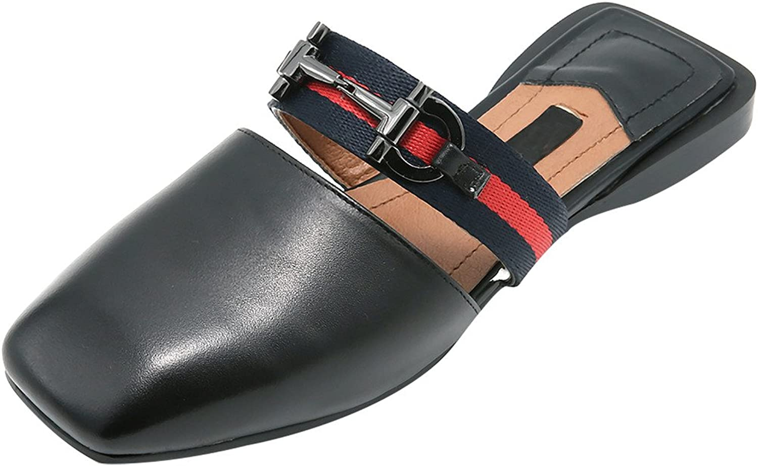 Calaier Womens Caboth Square-Toe 2CM Flat Slip-on Mule shoes