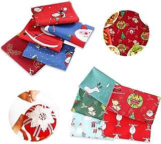 8 Feuilles Noël Cadeau de Noël Tissu Wrap Mixte Imprimé /& Uni Papier Cadeau.