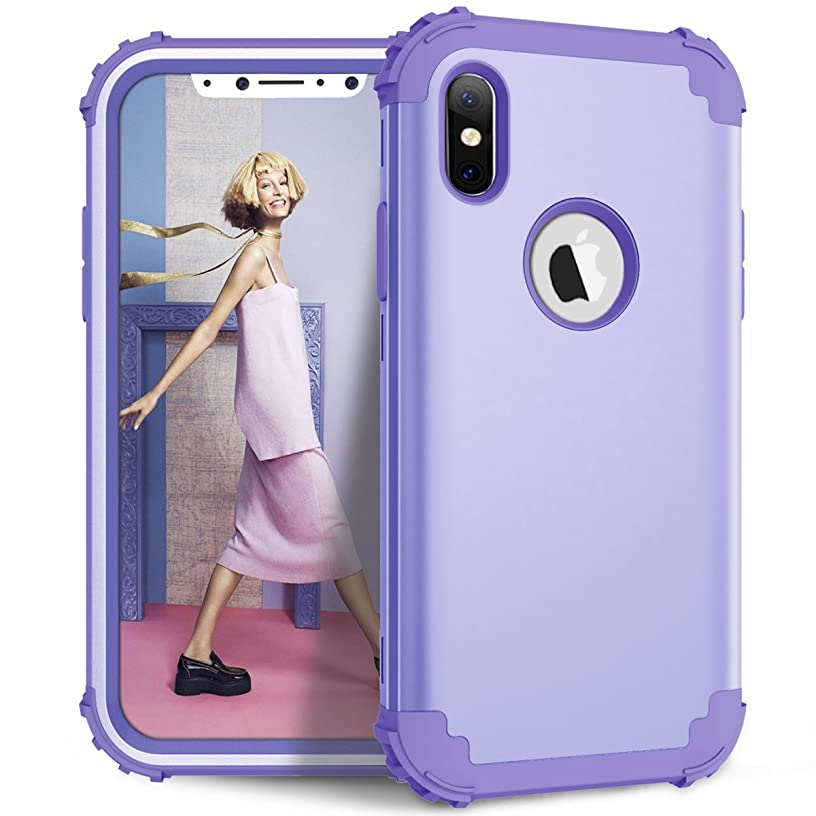 iPhone XS Case, iPhone X Case, Dooge 3in1 Hybrid Impact Heavy Duty Armor Defender Full-Body Shockproof Anti Slip Protective Cover with Silicone&Hard Solid PC Bumper for Apple iPhone X/XS - Lavender