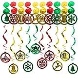 HQdeal 10Piezas Navidad Colgar Decoraciones de Remolino,Adornos de espirales Suministros Coloridos del Partido Patrón de Calabaza Estrella de Campanas para Suministros decoración hogar Techo Ventana