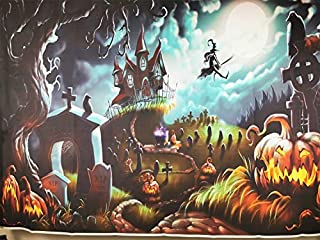 Sdefw Photography Backdrop Halloween Horror Moon Night Haunted Castle Pumpkin Background Kids Adults Costume Party Photo S...