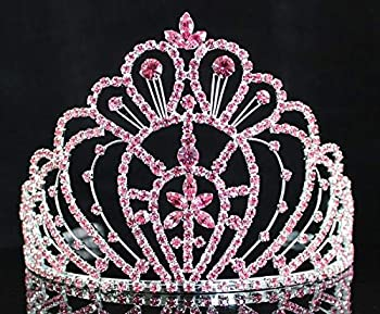 Queen Pink Austrian Crystal Rhinestone Crown Tiara With Hair Combs Veil Headband Headpiece Accessory Princess Wedding Parade Pageant Prom Parade Costume H469p