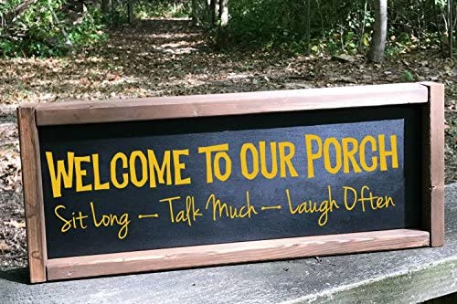 Welcome To Our Porch Vinyl Decals Lettering Quote Wall Décor Sticker 23 X 6 Black Amazon Com