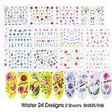 24 piezas Acuarela Floral Flor Etiqueta Nail Decal Set Flamingo Carta Diseño Gel Manicura Decoración Agua Slider Foil, BN925-948 2 hojas