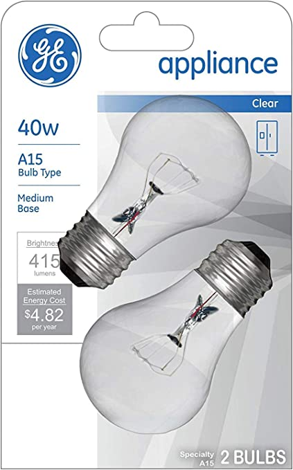 Amazon Com Ge Appliance Clear Light Bulb 40w A15 Bulb Type Medium Base 415 Lumens 2 Count Per Pack 1 Pack Home Kitchen