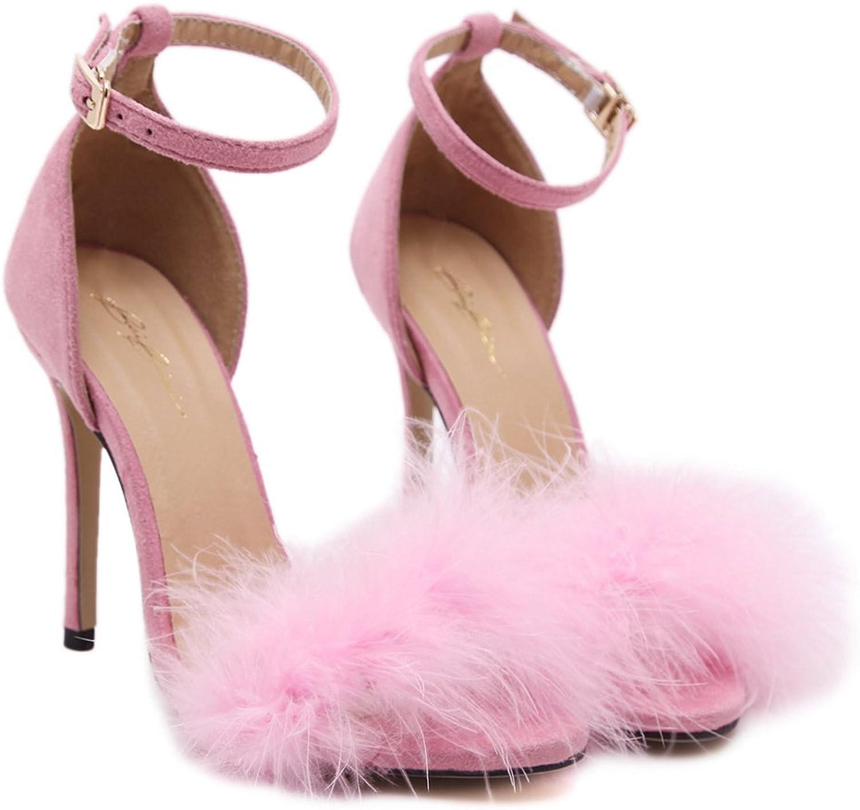 Women's Fashion High Heel Sandal Open Toe Dress shoes Classic Ankle Strap Fur Pump Wedge