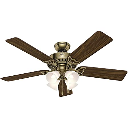 """Hunter Studio Series Indoor Ceiling Fan with LED Light and Pull Chain Control, 52"""", Antique Brass"""