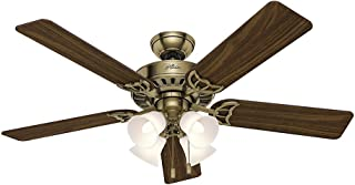 Hunter Indoor Ceiling Fan, with pull chain control - Studio Series 52 inch, Antique Brass, 53063