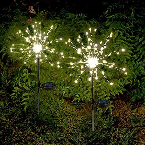 Lámpara Solar Jardín Luces Solares Fuera De 2 X Fuegos Artificiales Solares Ligero Blanco Cálido Led Impermeable Luces De Jardín Jardín Balcón Balcón Caja Caja De Flores Terraza Decoración